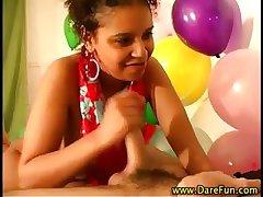 Ebony real babe gets a cumshot
