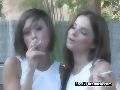 Two smoking teen girls love showing part2