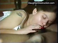 Pigtailed teen daughter fucked hard