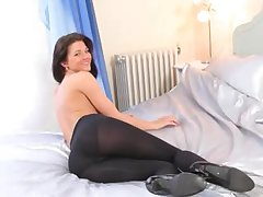 Pantyhose and angelic hot striptease
