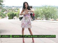 Luna amazing brunette slut changing clothes in public
