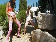 Two russian girls peeing like a boys
