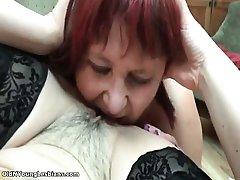 Mature lesbian having fun licking