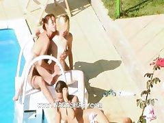 Three chicks secret banging by the pool