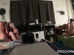 Blonde in college rides coeds penis in POV in dorm room