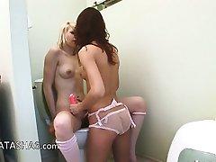 Irish serious dildo testing on toilet