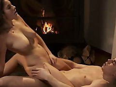 breasty romantic memories by the fire