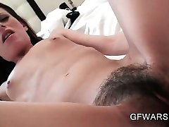 Horny stud drilling hairy skinny pussy in POV style close-up