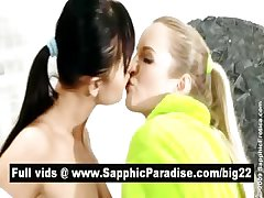 Stunning blonde and brunette lesbos kissing and fingering pussy in the bathroom