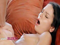 Teen slim girl screaming during orgasm