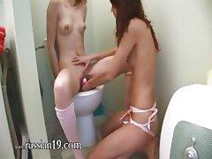 german serious dildo testing on toilet