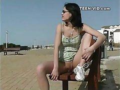 brunette teen upskirt no panties