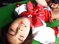 Asian in school uniform getting cunillingus